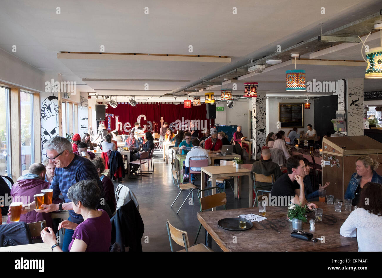 29 May 2015 - Bristol, UK : Early Friday Evening in The Canteen in Hamilton House, a community cafe / bar and Arts - Stock Image
