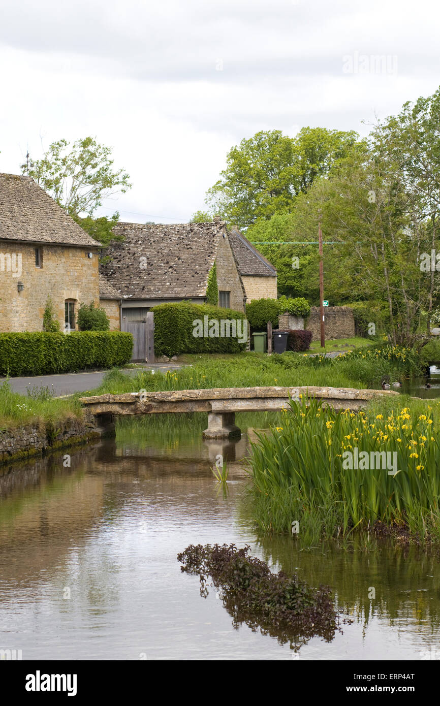 Stone Cottages in Lower Slaughter The Cotswolds - Stock Image