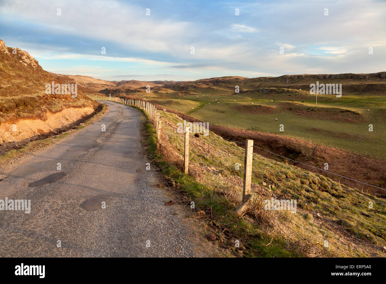 Road running through Isle of Mull, Inner Hebrides, Scotland - Stock Image
