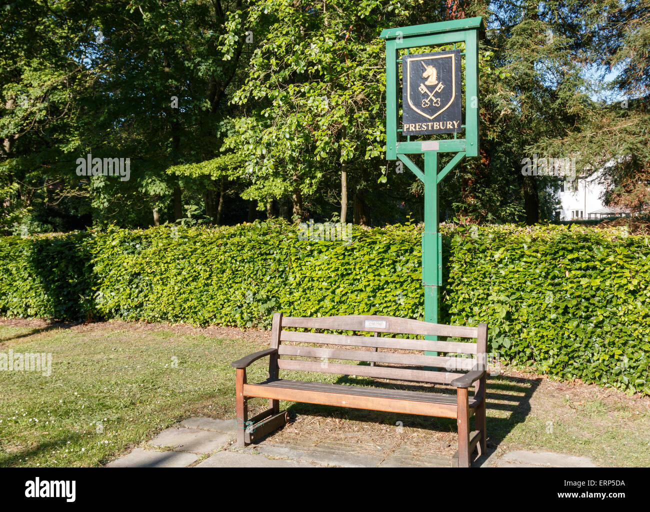 Prestbury sign with coat of arms. Cheshire village, - Stock Image