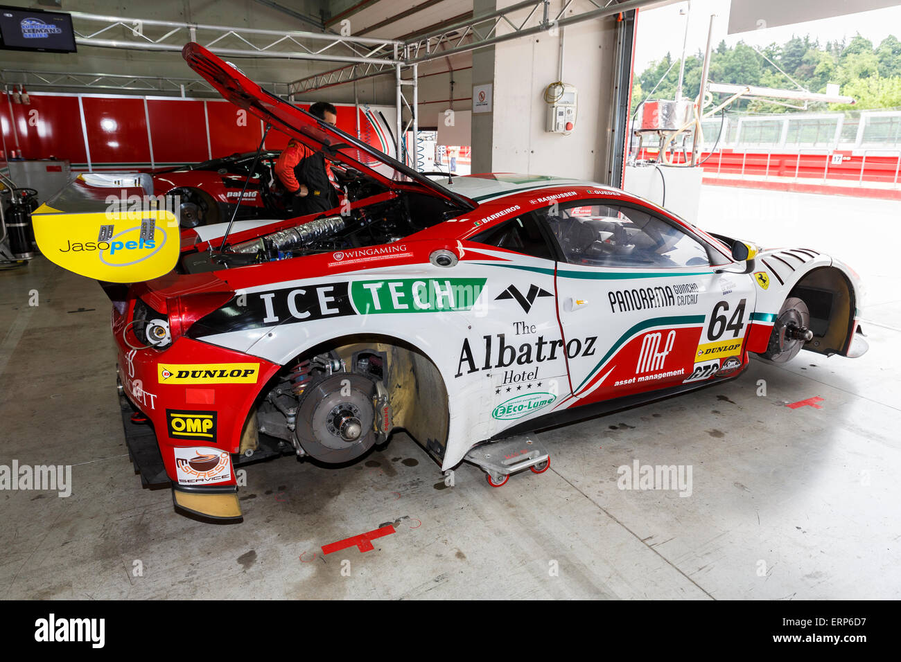 Imola, Italy – May 16, 2015: Ferrari F458 Italia GT3 of Af Corse Team,  in action during the European Le Mans Series Stock Photo