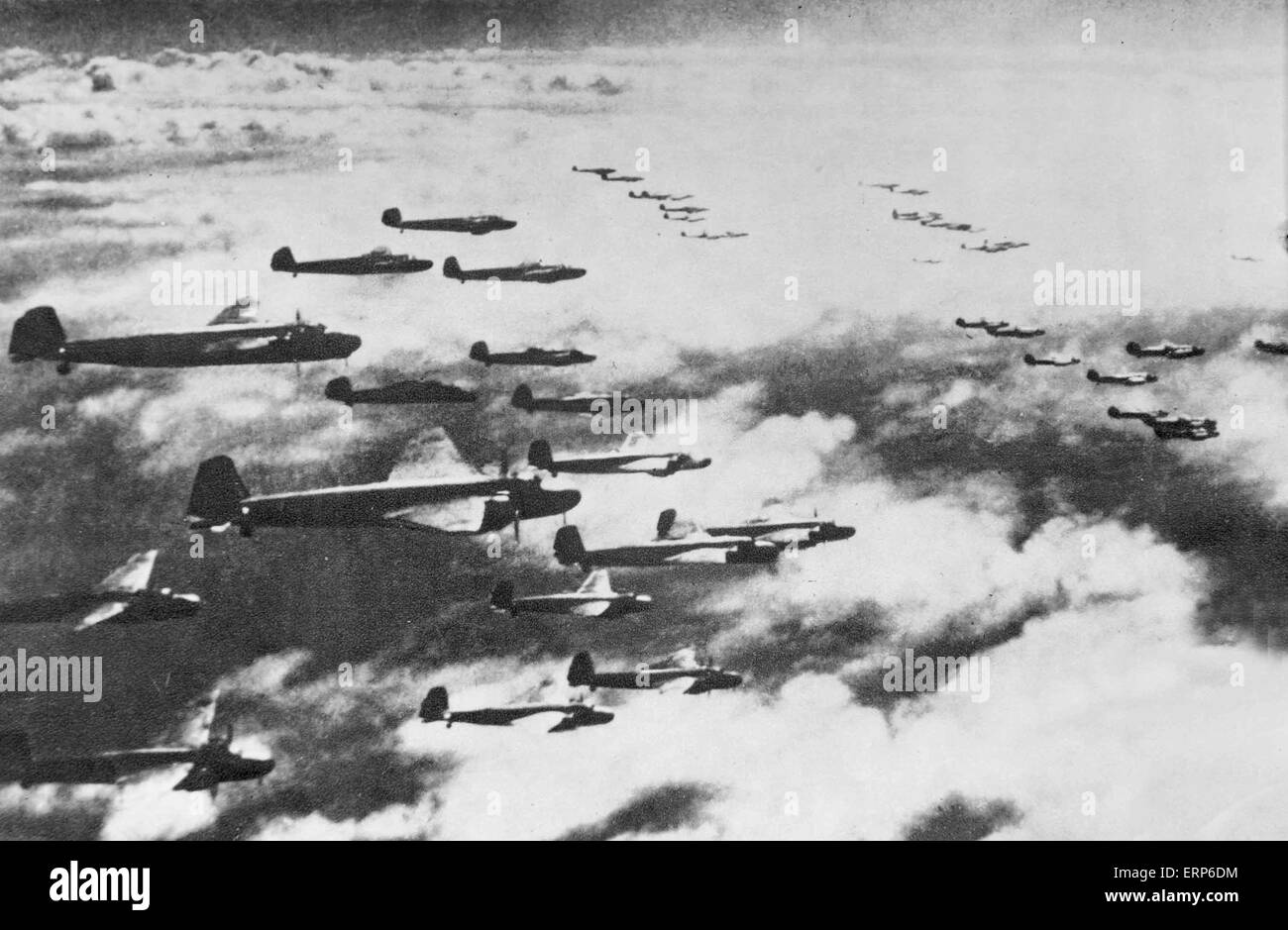 This copied file photo taken in 1940 shows invading Japanese bombers flying over southwest China's Chongqing, - Stock Image