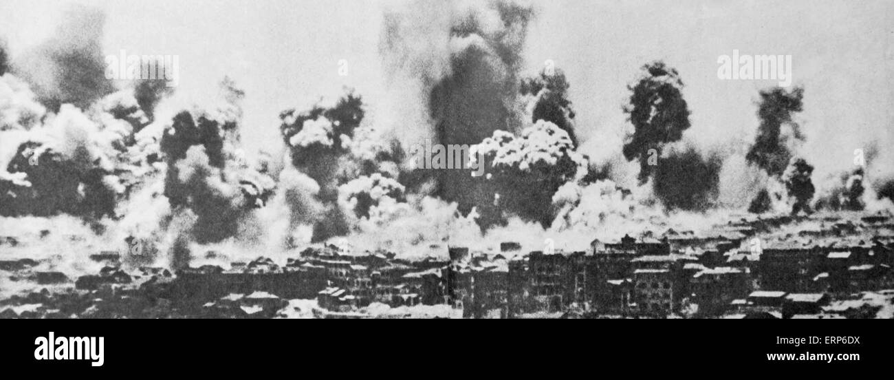 This copied file photo taken in September 1940 shows dowtown Chongqing after being airstriked by Japanese bombers. - Stock Image