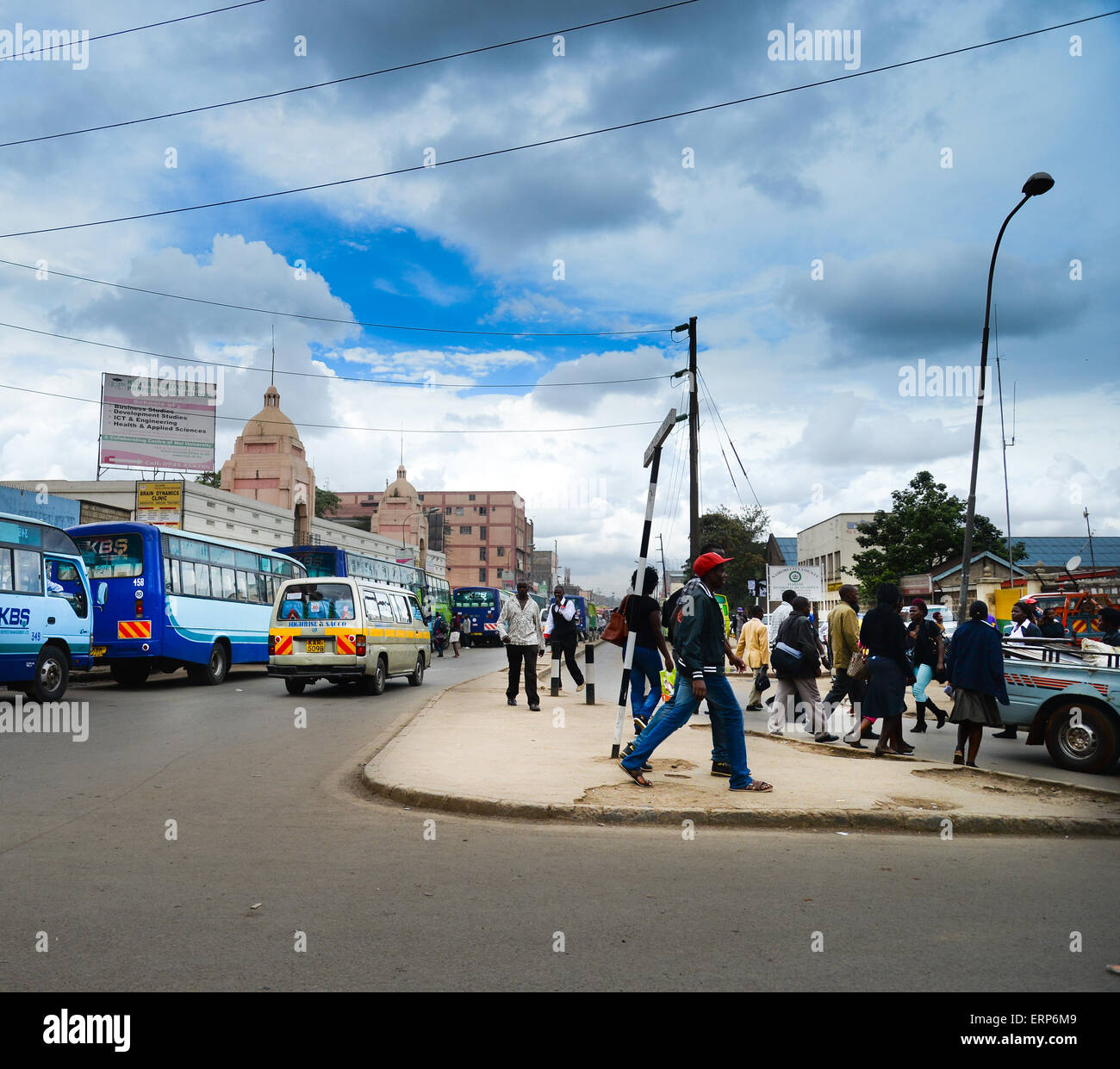 Looking down Race Course Avenue from Haile Selassie Avenue in Nairobi, - Stock Image