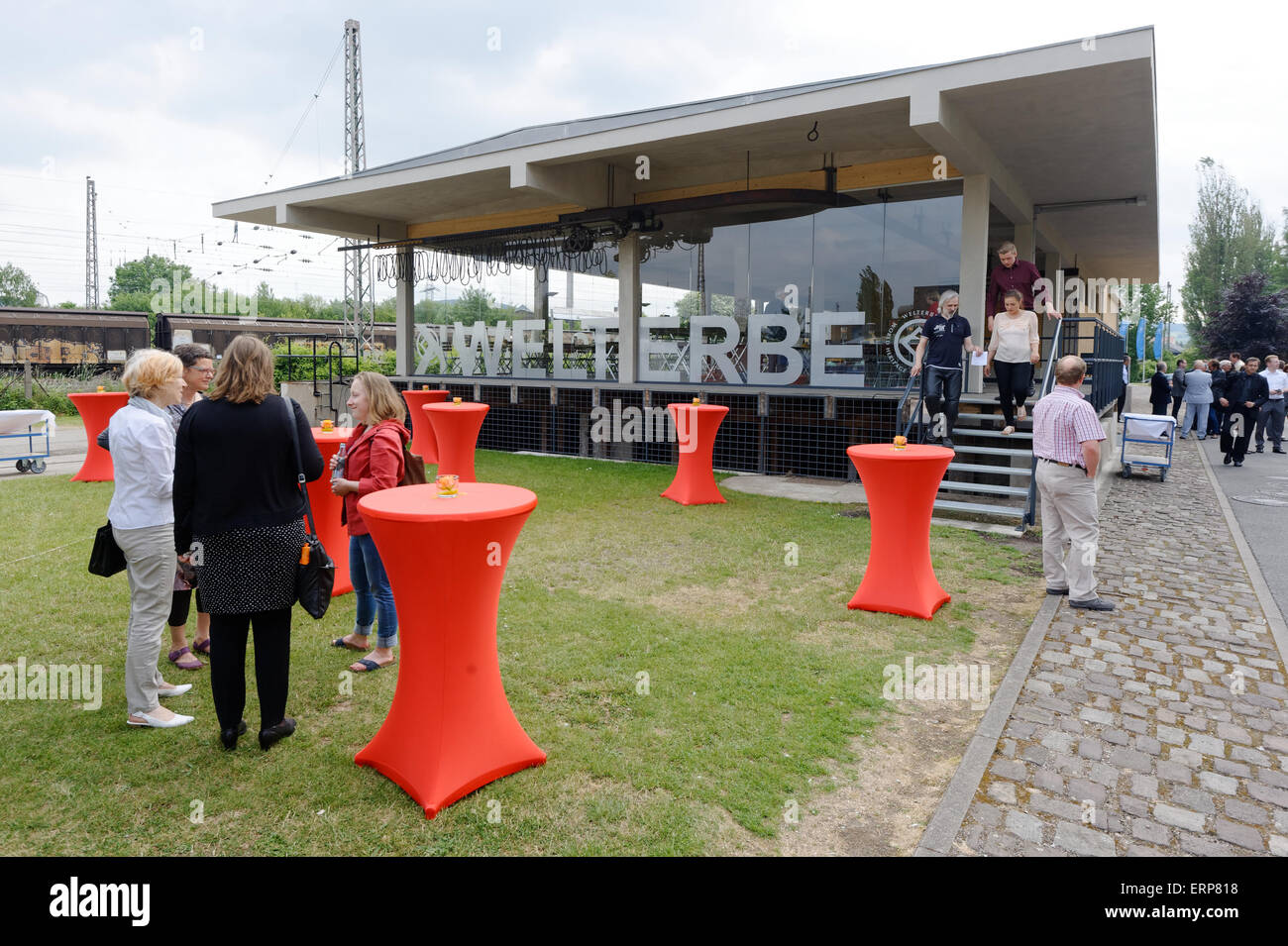 Alfeld, Germany. 06th June, 2015. View of the new visitor centre of the UNESCO world heritage site Fagus Werk in - Stock Image