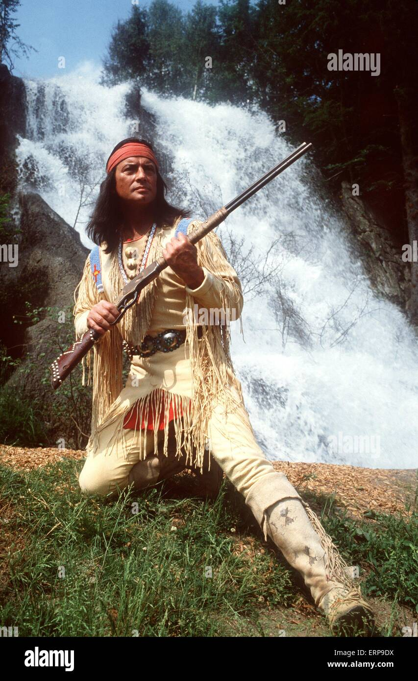 (dpa files) - French actor Pierre Brice stars as Apache leader Winnetou at the Karl May Festival in Elspe, Germany, 9 June 1982. Winnetou and his white-skin friend Old Shatterhand are the heroes of films based on the German western novels by Karl May. They are currently spoofed in the German comedy blockbuster 'Der Schuh des Manitu' ('Manitou's Shoe', 2001), which was a surprise hit at the Cannes film market and recently sold to many countries worldwide. Stock Photo