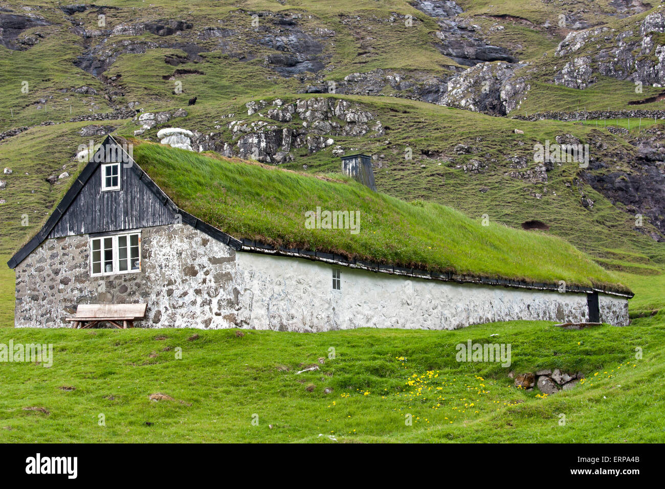 Traditional House With Turf Roof In Saksun Faroe Islands