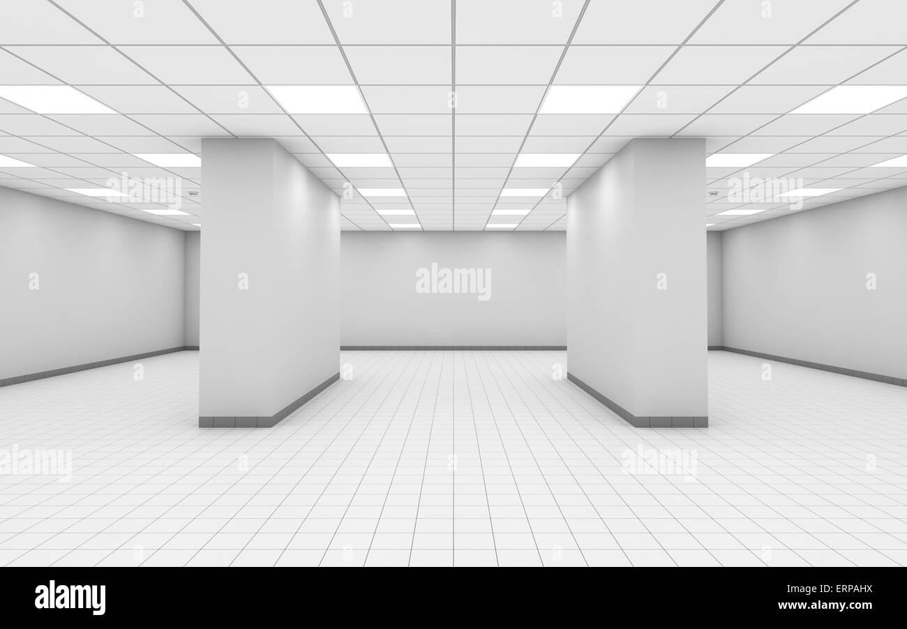 white office interior. Abstract Empty White Office Room Interior With Columns, Ceiling Lights And Floor Tiling, 3d Illustration L