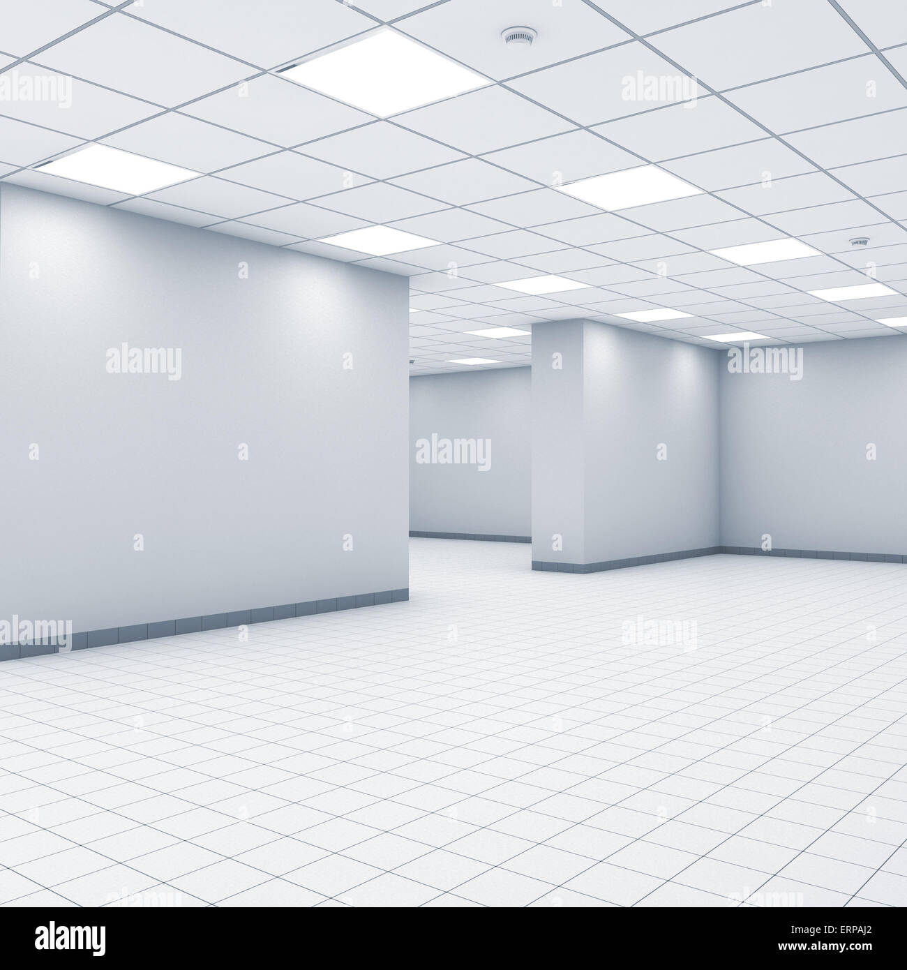 Beautiful Open Space Background, Abstract Empty Office Interior With White Walls,  Lights And Floor Tiling, 3d Illustration