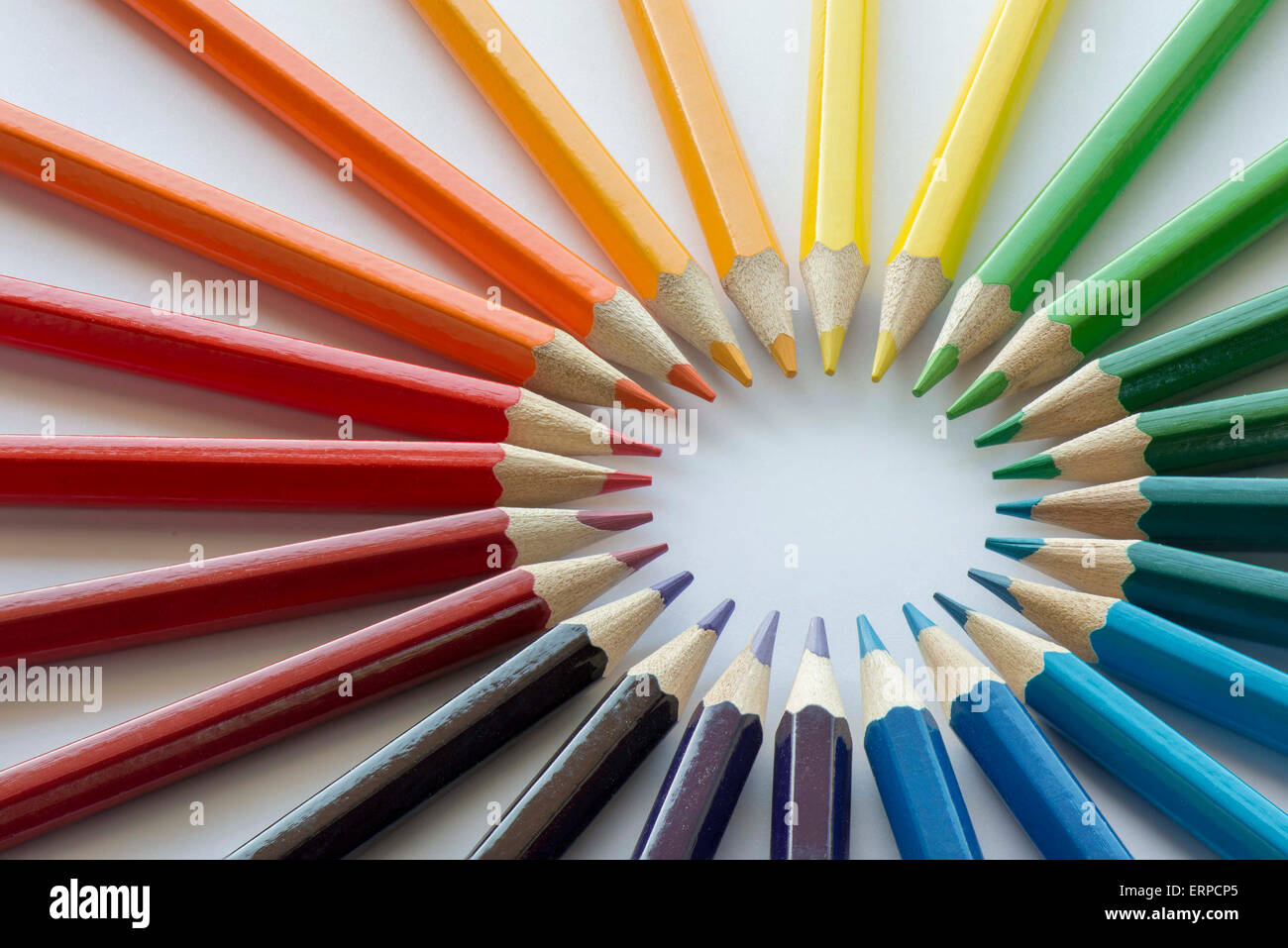 Abstract composition of a set wooden colour pencils in complementary ...