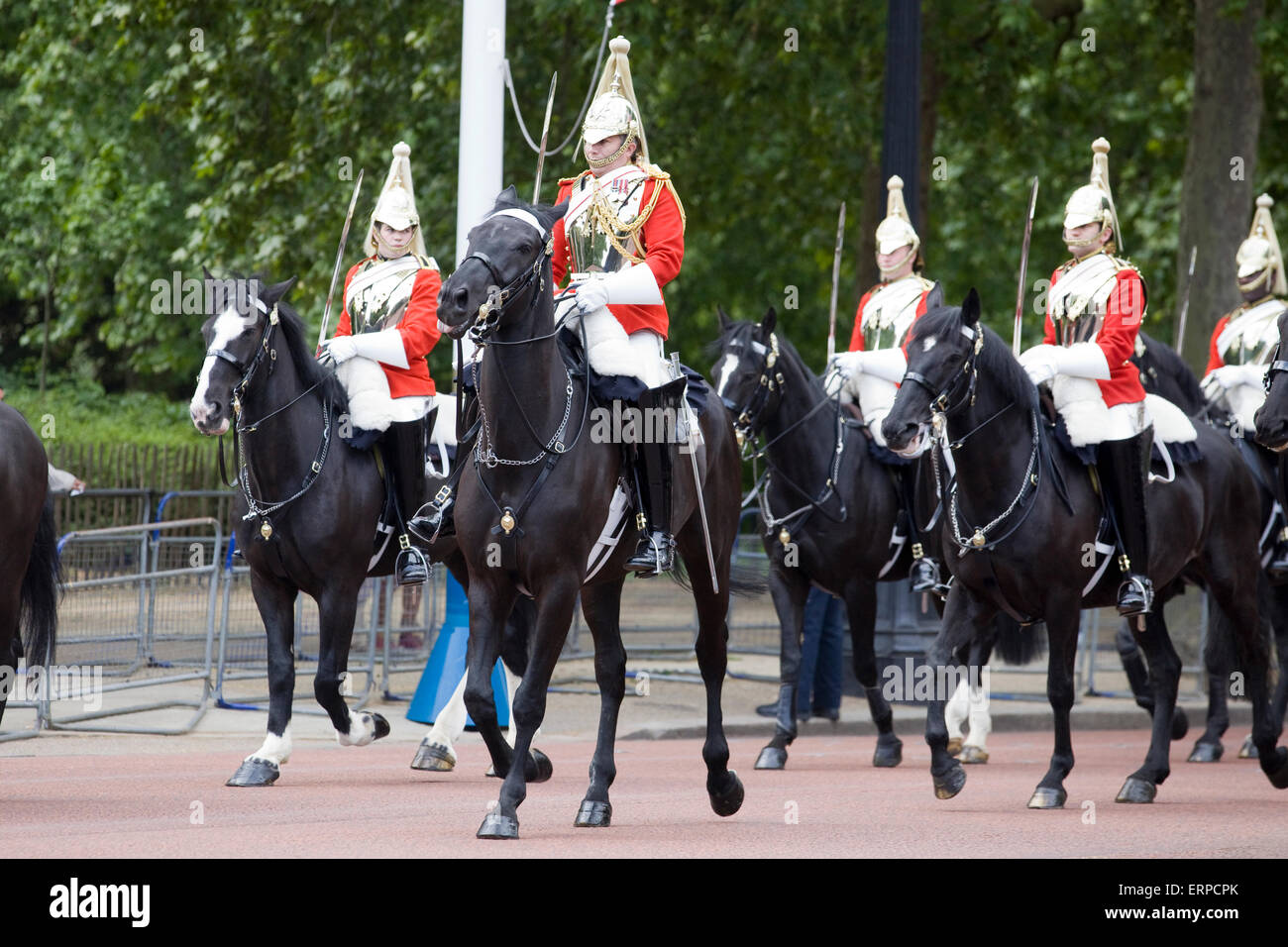 Life Guards household Cavalry for Trooping The Colour The Mall  London UK. Stock Photo