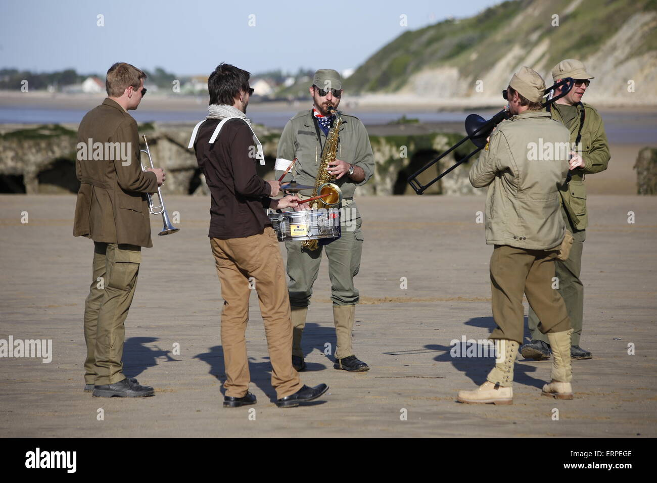 D-Day 71st Anniversary, Normandy France. Services and musical parades are held in Arromanche to mark  the 71st anniversary - Stock Image