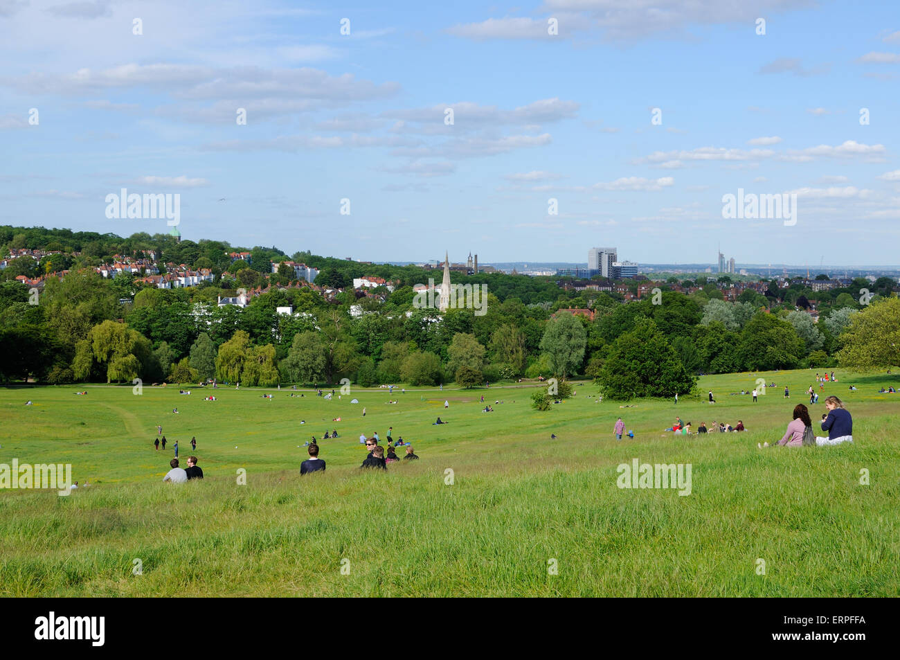 Hampstead Heath North London, in early summer, looking east towards Highgate - Stock Image