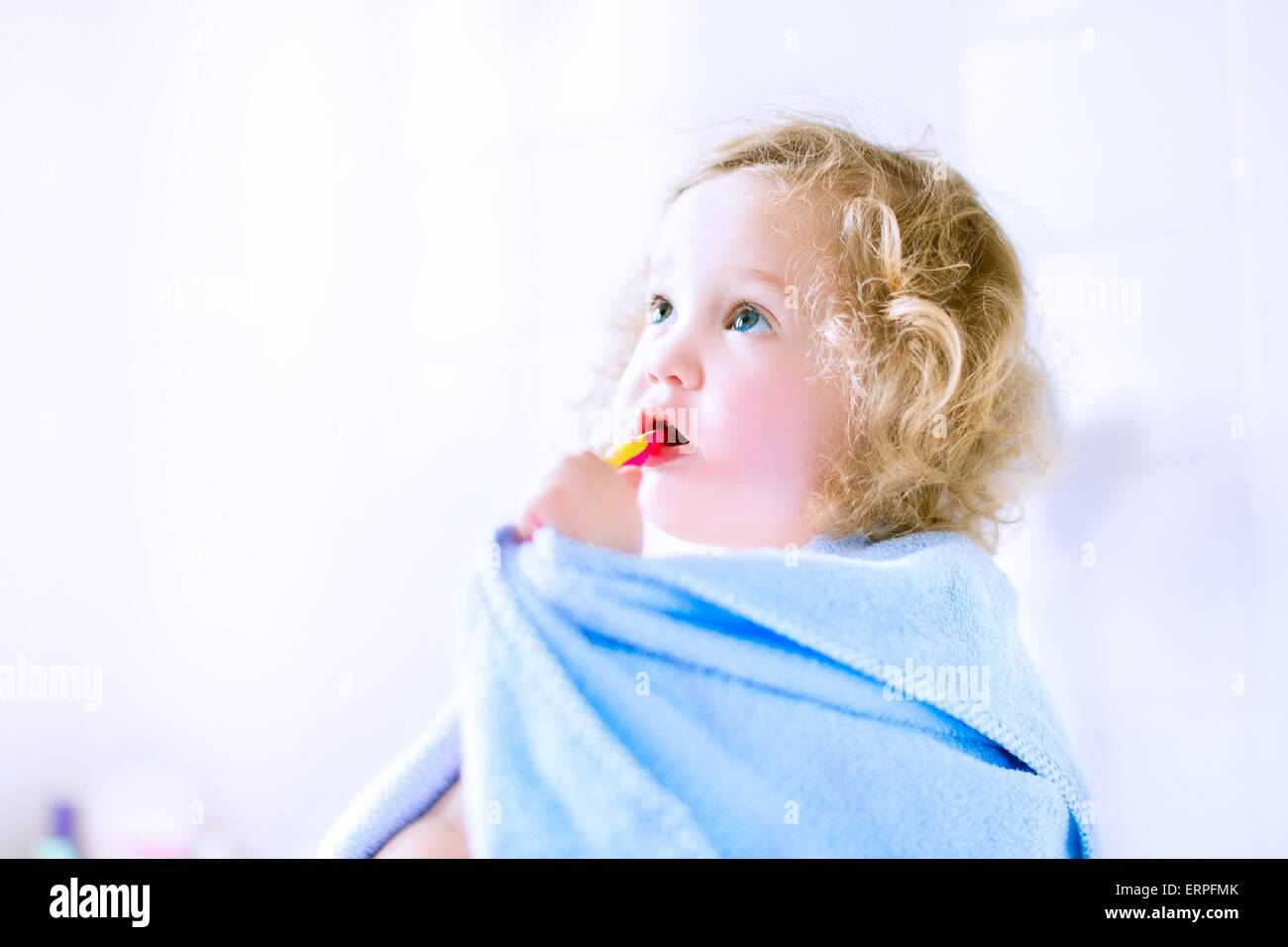 Funny toddler girl with big eyes in a blue hooded towel after shower sitting in a white sunny bathroom brushing Stock Photo