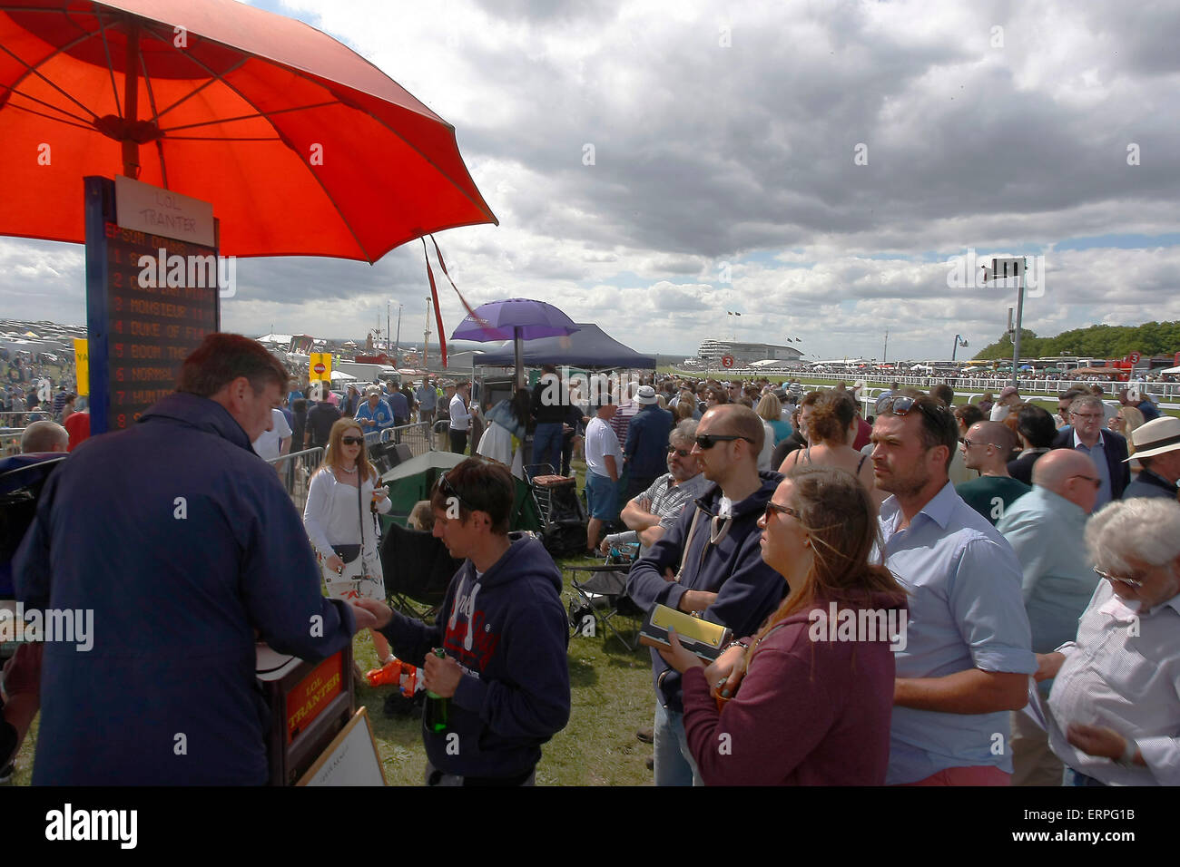 Epsom Downs, Surrey, UK -  6th June, 2015  Bookies take punters money at The Derby Stock Photo