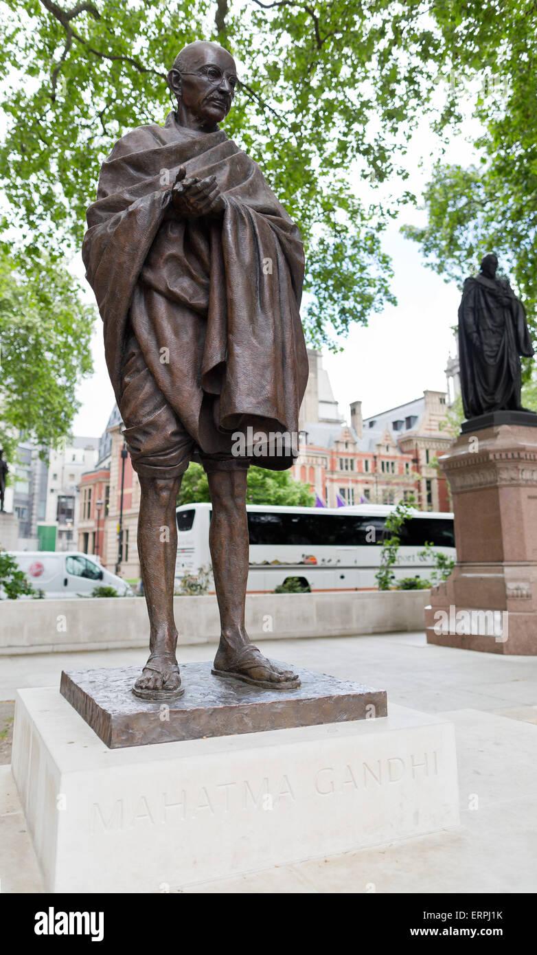 Mahatma Gandhi statue at the Parliament square - London, Great Britain, Europe - Stock Image