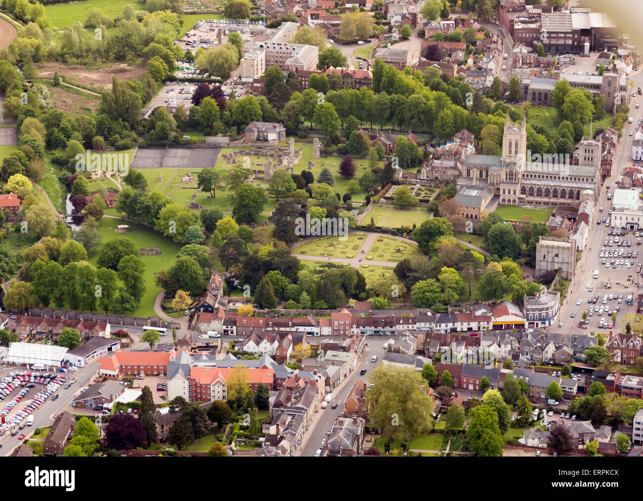Aerial photo of Bury St Edmunds showing the Abbey Gardens Stock Photo