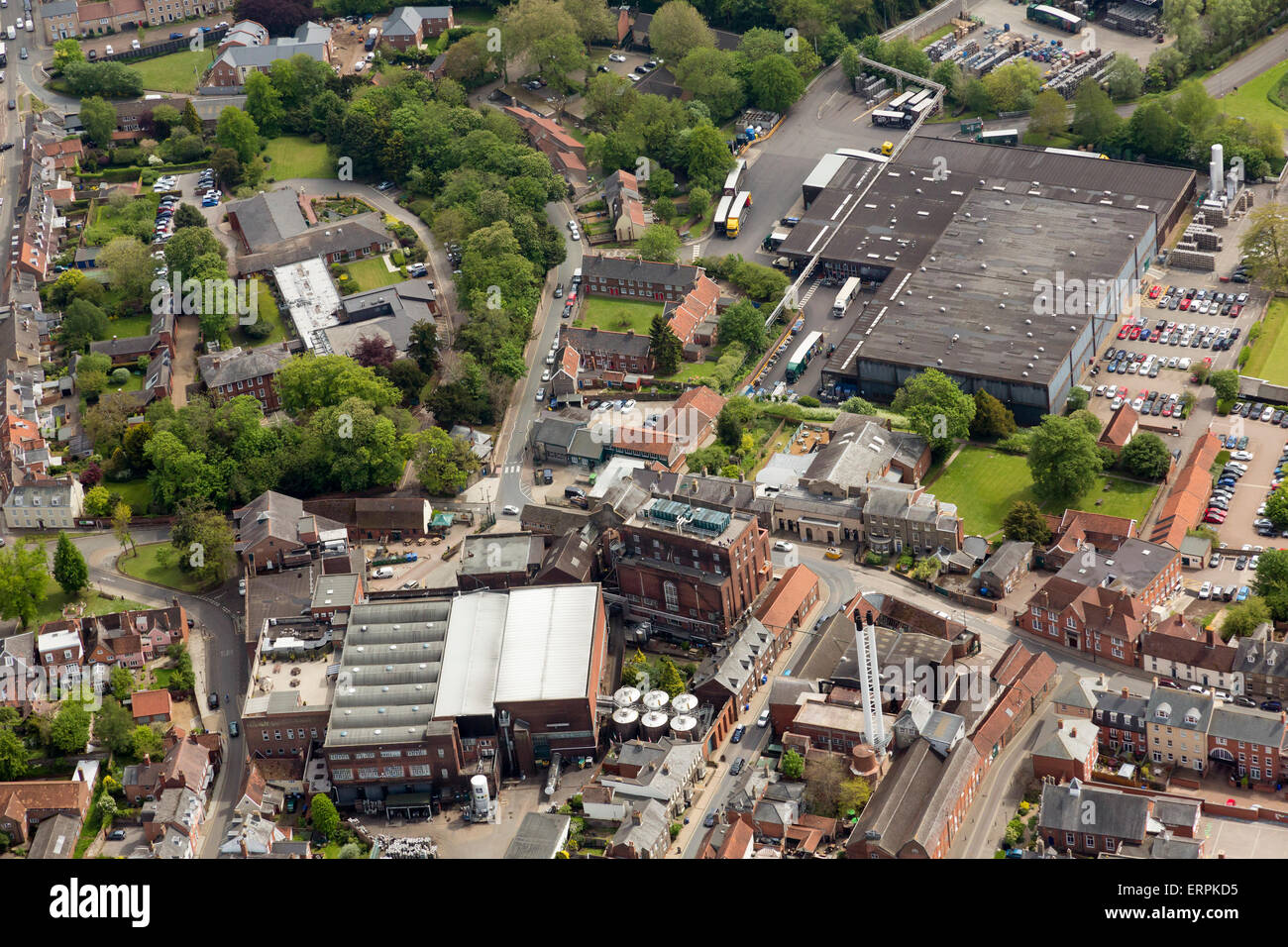 The Greene King brewery and packaging buildings in Bury St Edmunds, Suffolk, UK - Stock Image