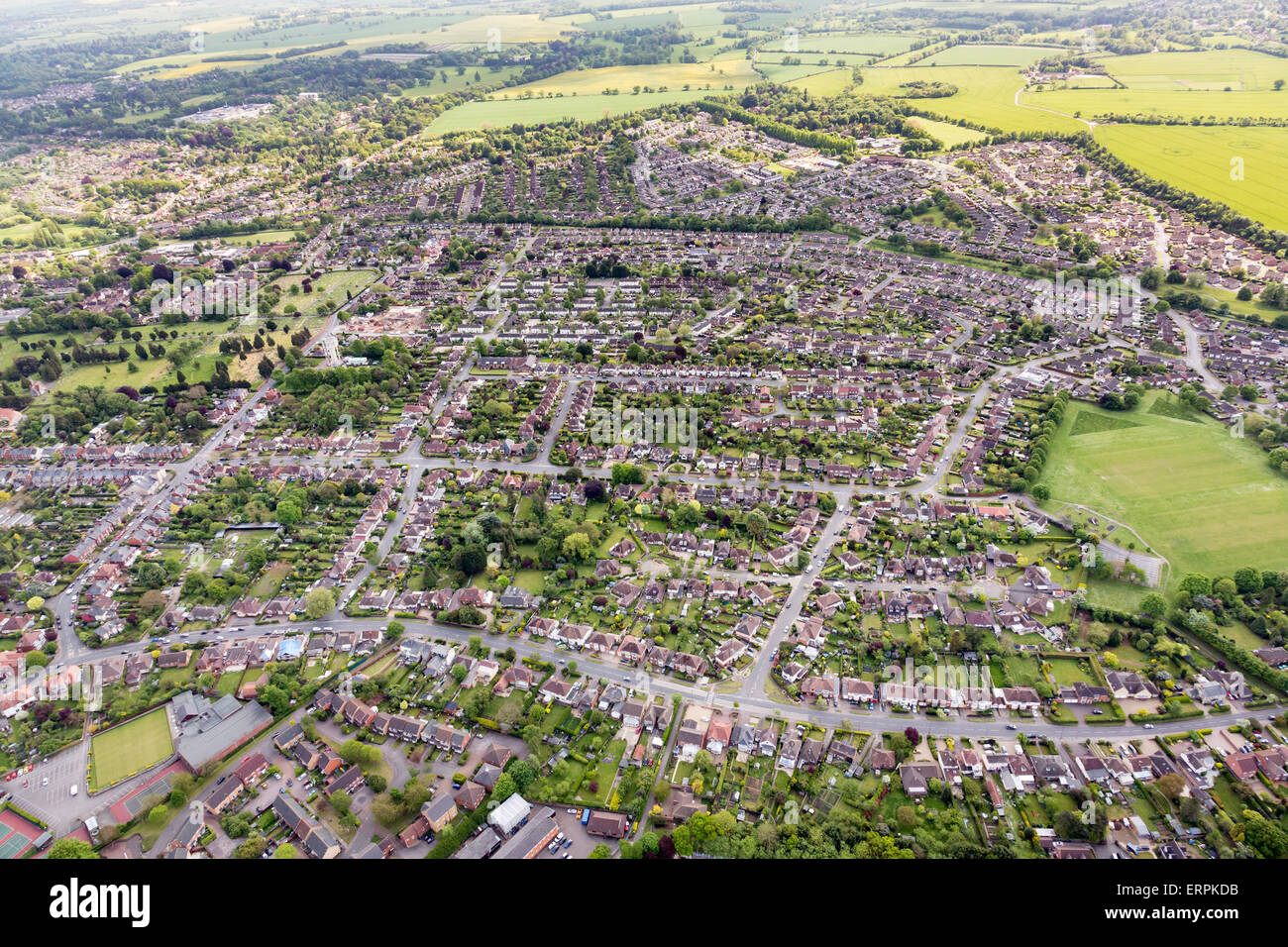 aerial photo view of Bury St Edmunds - Stock Image
