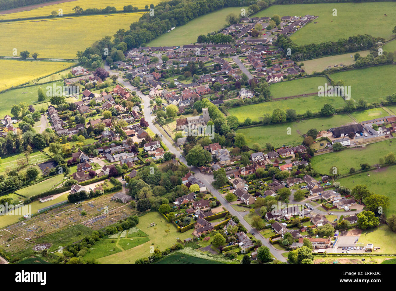 aerial photo of Gazeley village in Suffolk, UK Stock Photo