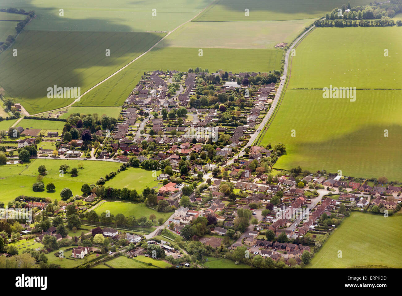 aerial photo of Moulton village in Suffolk - Stock Image