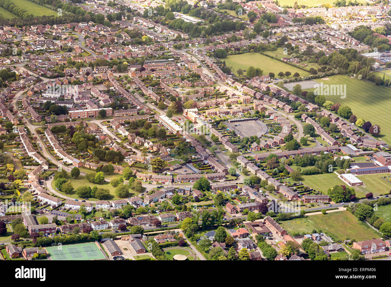 Aerial photo view of Newmarket UK - Stock Image