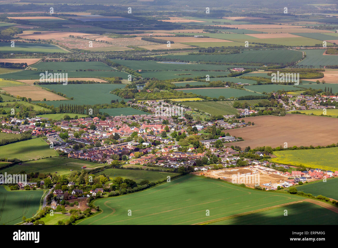aerial photo of Barrow village Suffolk - Stock Image