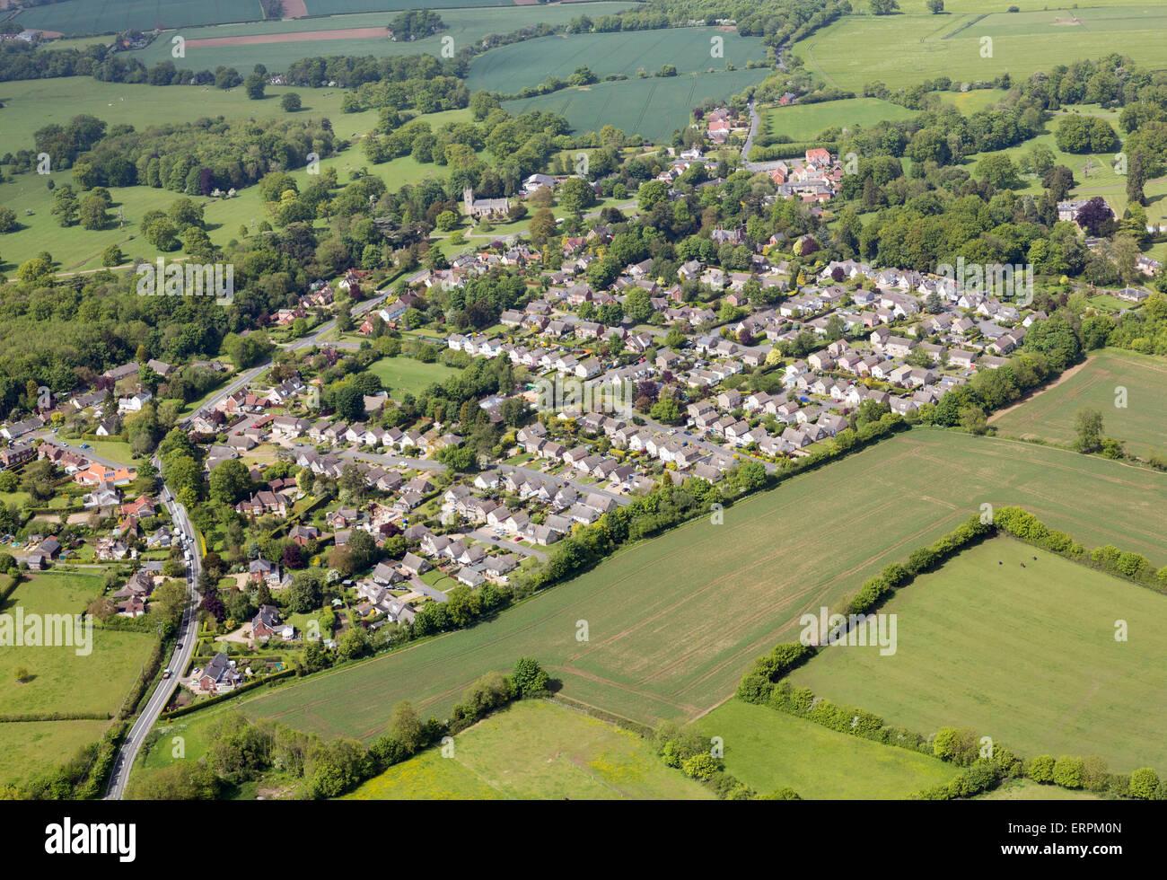 aerial photo of Horringer village in Suffolk - Stock Image
