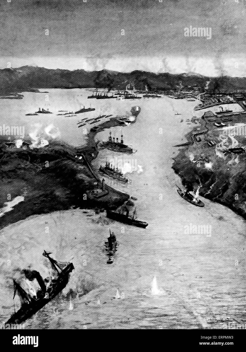 Birds eye view of Port Arthur, showing vessels sunk in entrance - Russo - Japanese War, 1904 - Stock Image