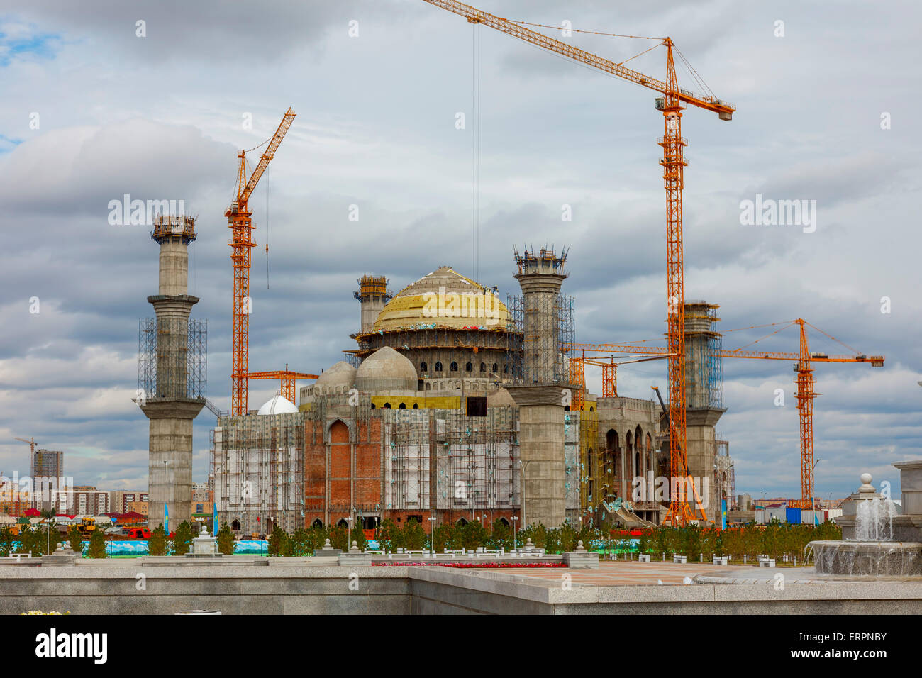 Construction of the mosque Hazrat Sultan, Astana, Kazakhstan - Stock Image