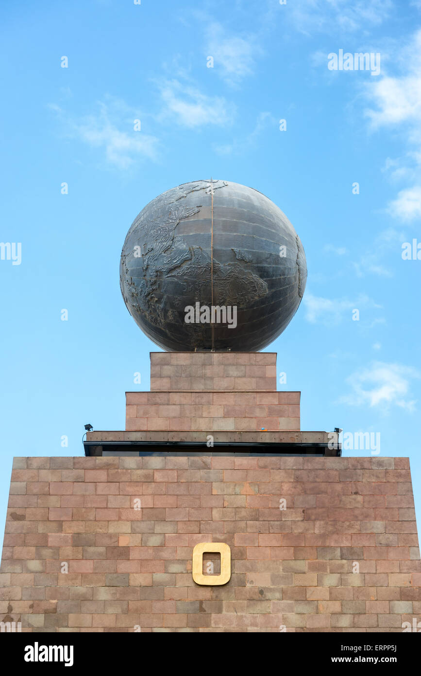 Large metal globe on the top of the monument to the equator in Quito, Ecuador - Stock Image