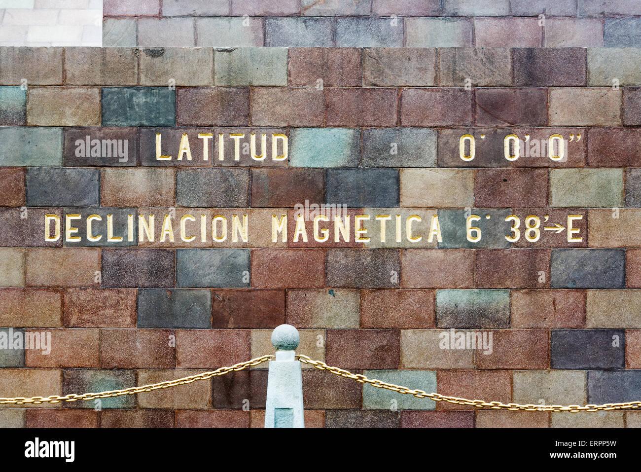 Monument to the equator in Quito, Ecuador displaying 0 degrees latitude - Stock Image