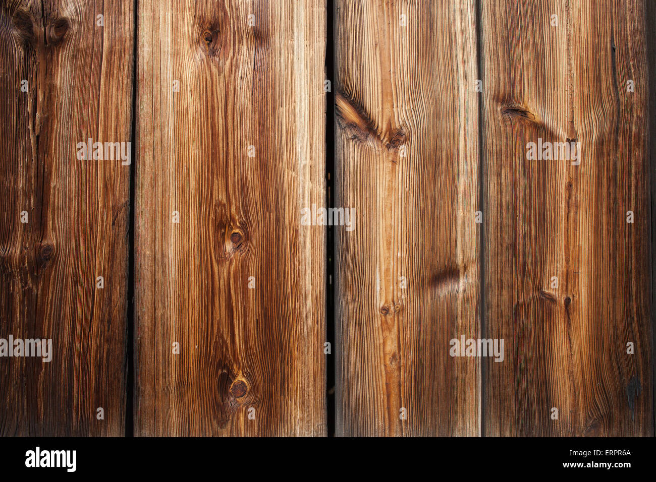 Vintage wood planks with knots background decor element with beautiful texture - Stock Image