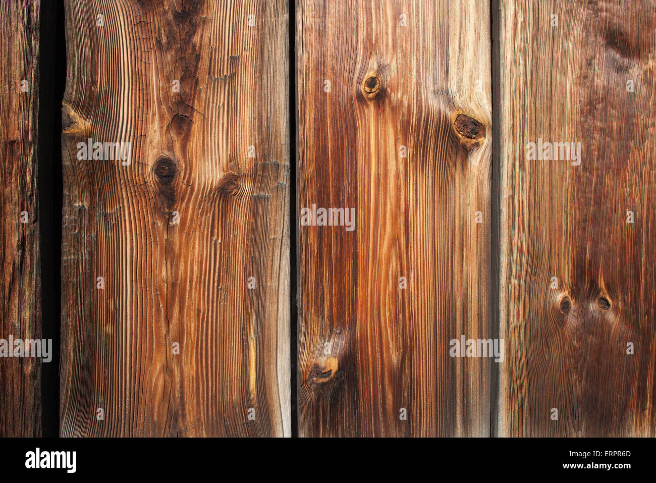 Retro wood planks with knots background decor element with beautiful texture - Stock Image