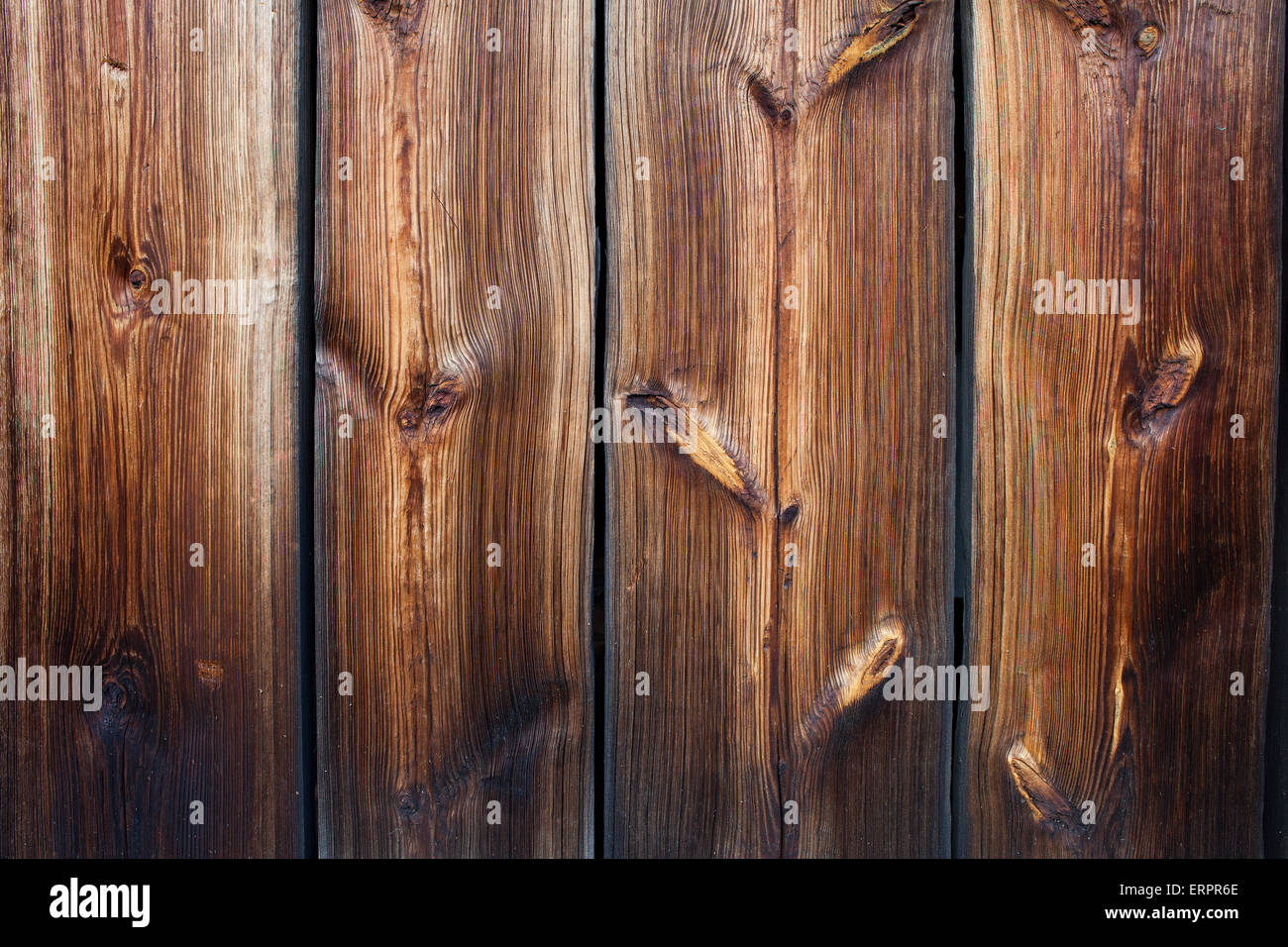Vintage wood planks with knots texture or background decor element - Stock Image