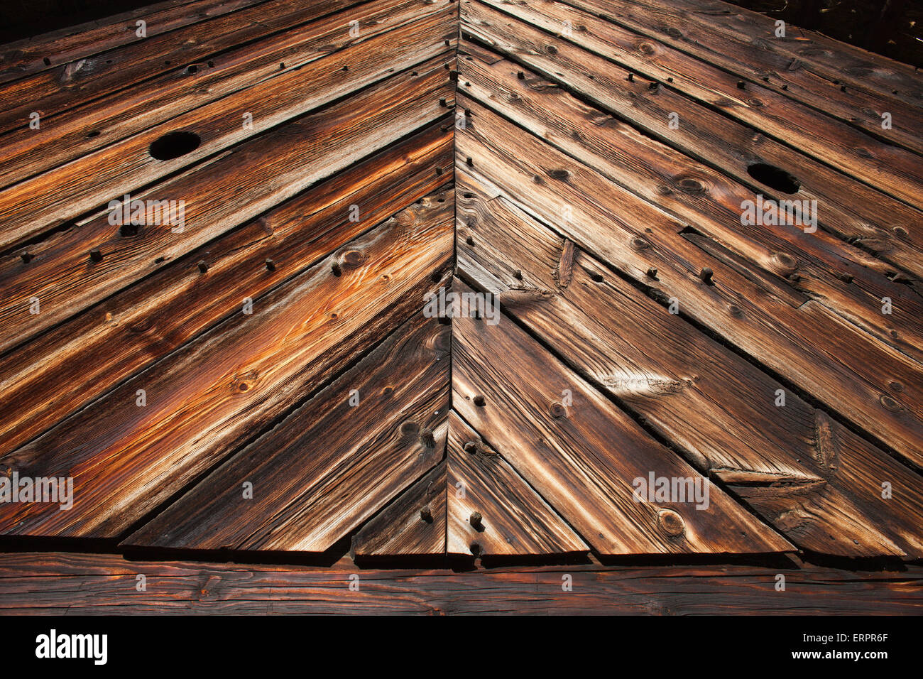 Old barn wall wood planks with beautiful texture - Stock Image