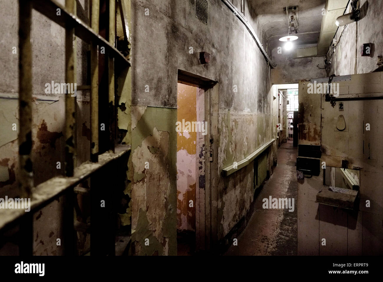 View of the basement prison cells at the former KGB, or 'Cheka' headquarters known by locals as the Corner House Stock Photo