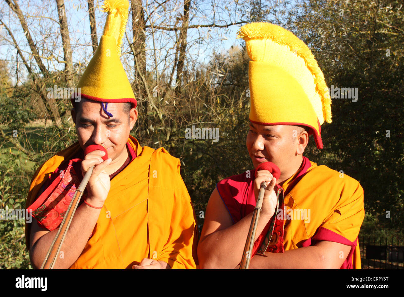Tibetan Monks in residence at the Pitt Rivers museum in Oxford, during the closing ceremony and procession. - Stock Image
