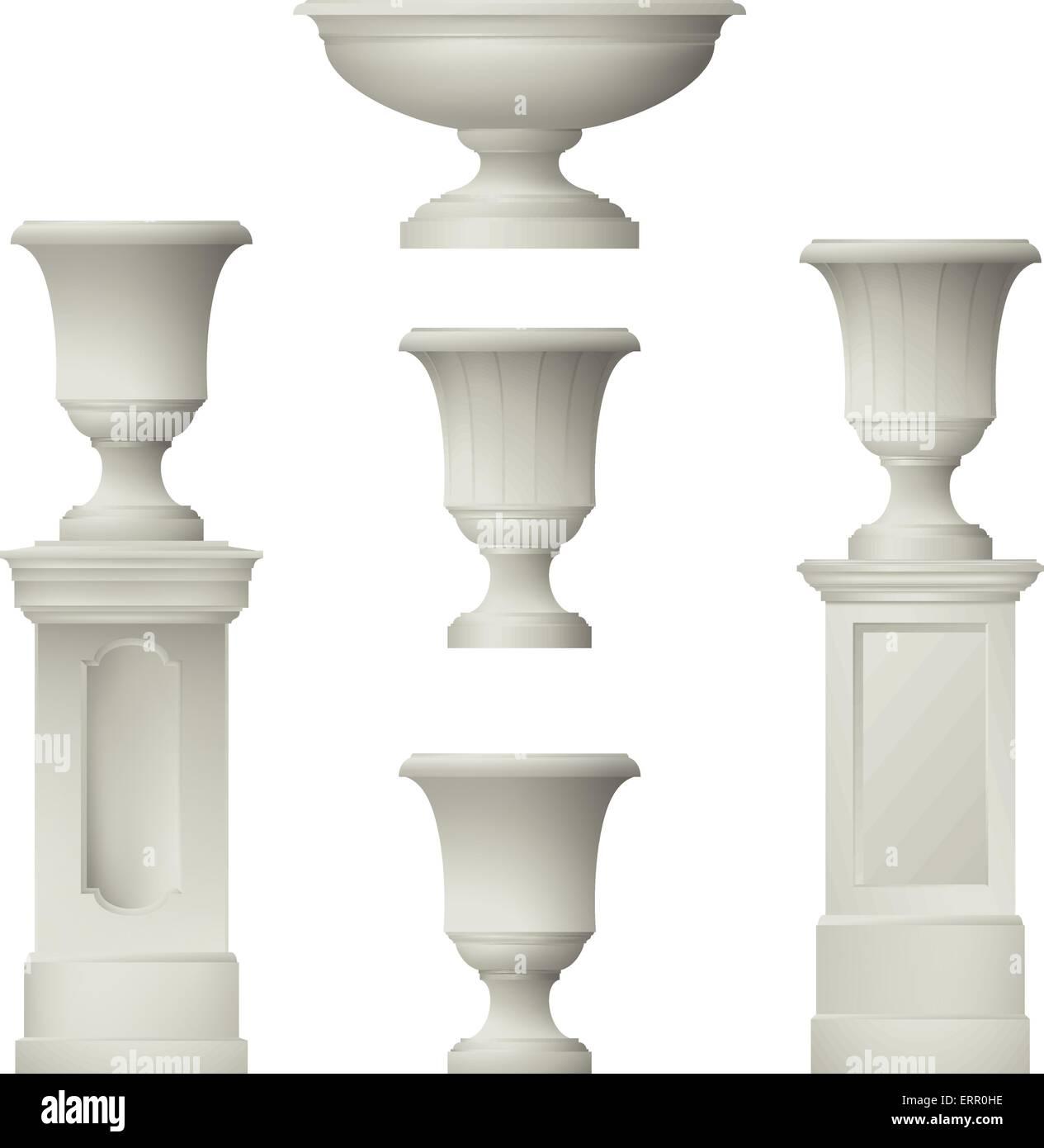 Outdoor and park elements : balustrade , decorative vase ,set of landscape elements,vector drawing - Stock Vector