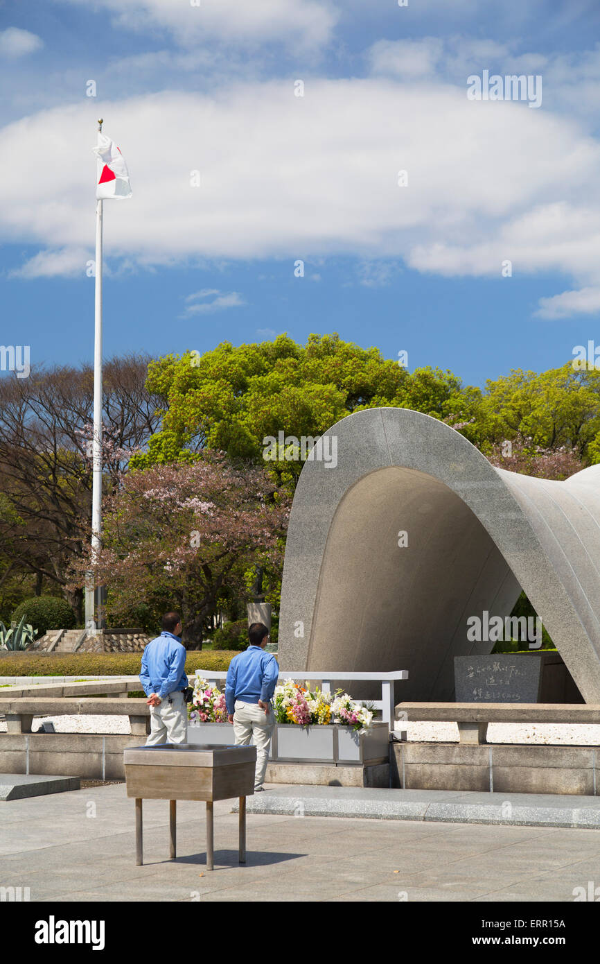 Cenotaph in Peace Memorial Park, Hiroshima, Hiroshima Prefecture, Japan - Stock Image