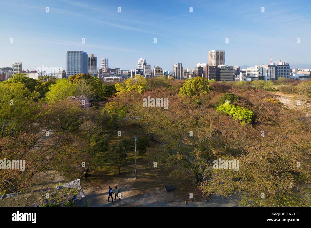 City skyline and Maizuru Park, Fukuoka, Kyushu, Japan - Stock Image