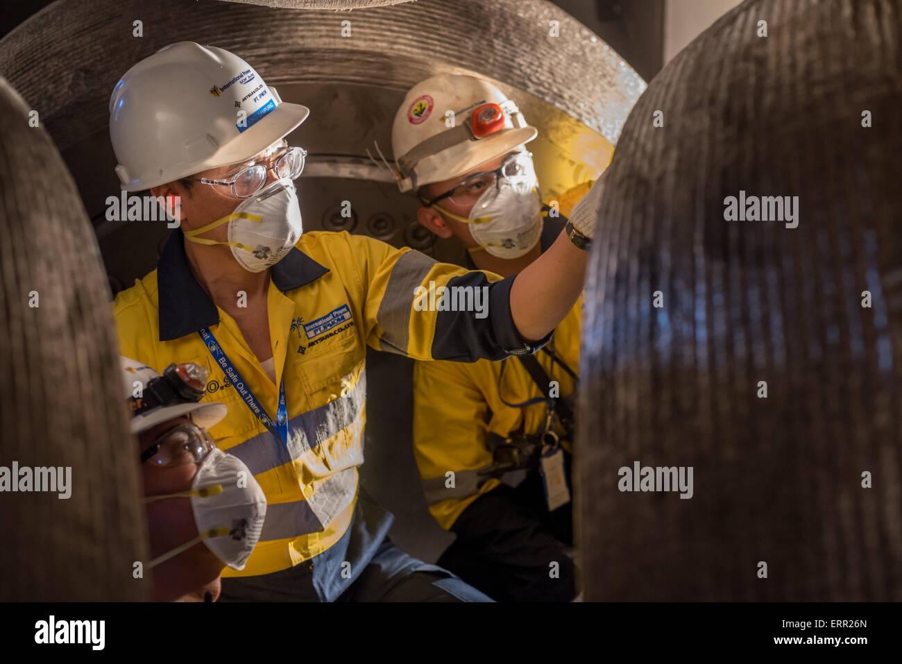 Maintenance activity at power plant facility. - Stock Image