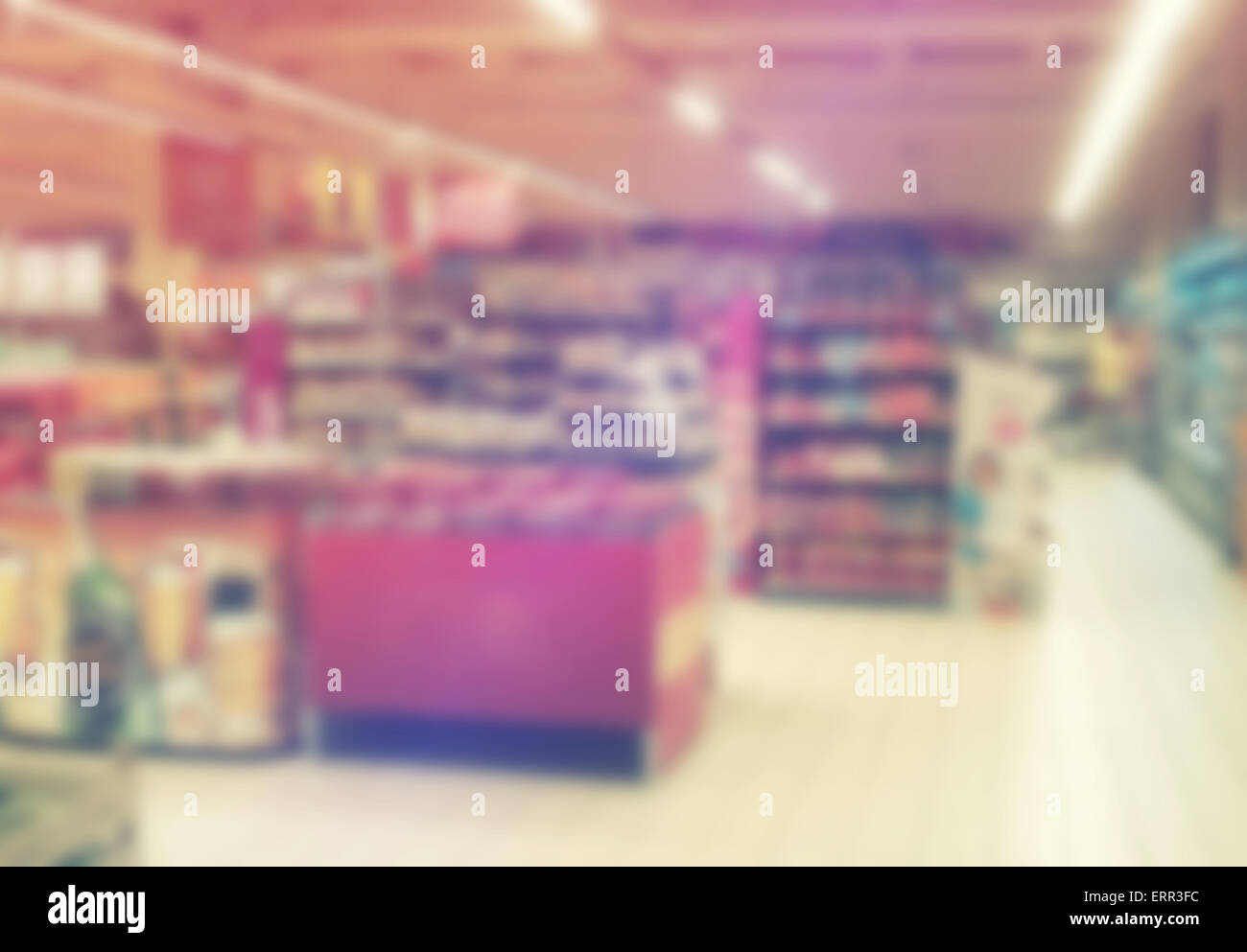 Blurred Abstract Supermarket Aisles Out of Focus for Consumerism, Shopping and Retail Concept - Stock Image