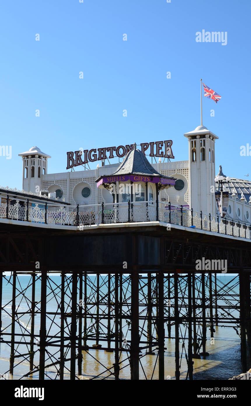 Entrance to the Victorian pleasure pier on Brighton seafront. Stock Photo
