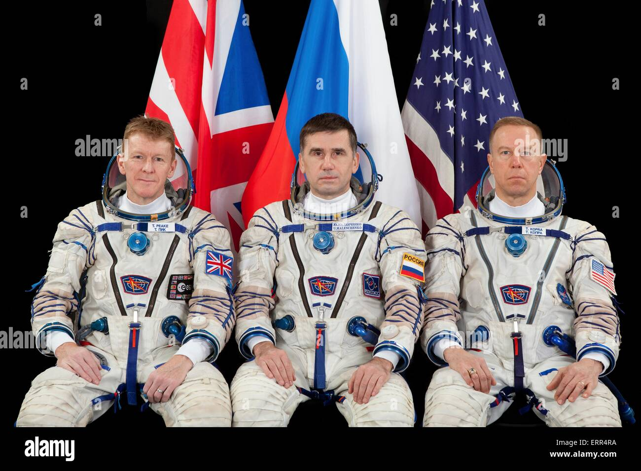 International Space Station Expedition 44/45 backup crew members Timothy Peake of the European Space Agency (left), - Stock Image
