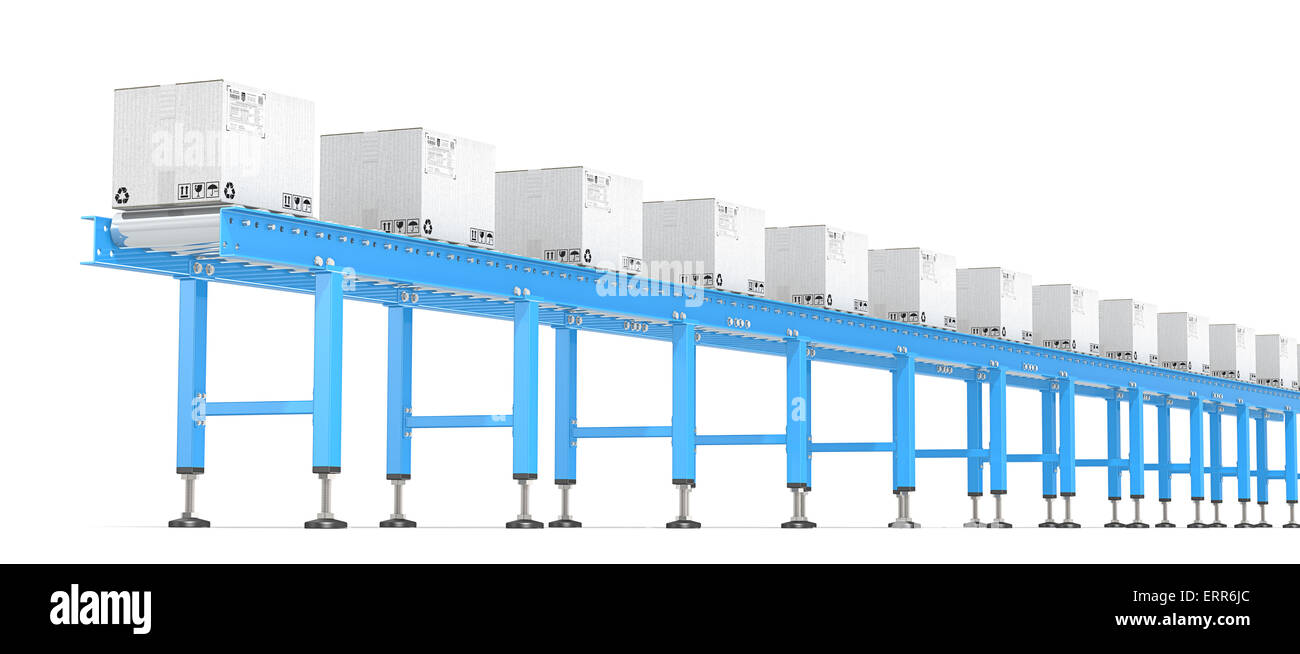 Horizontal view of Blue Industrial Roller Conveyor with white cardboard Boxes. - Stock Image