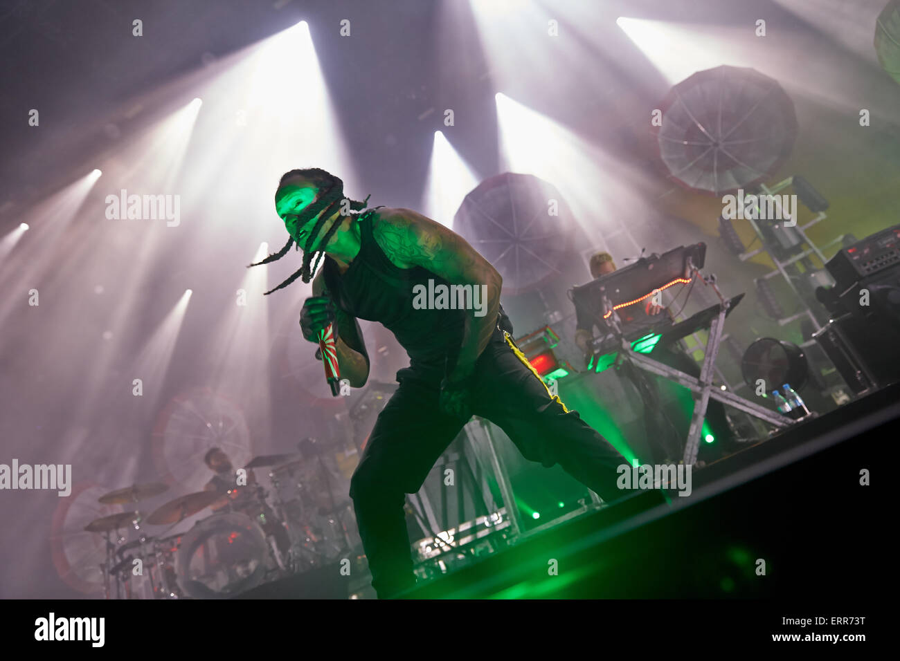 Mendig, Germany. 06th June, 2015. Singer Keith Palmer aka Maxim performs with the British electro-punk band 'The - Stock Image