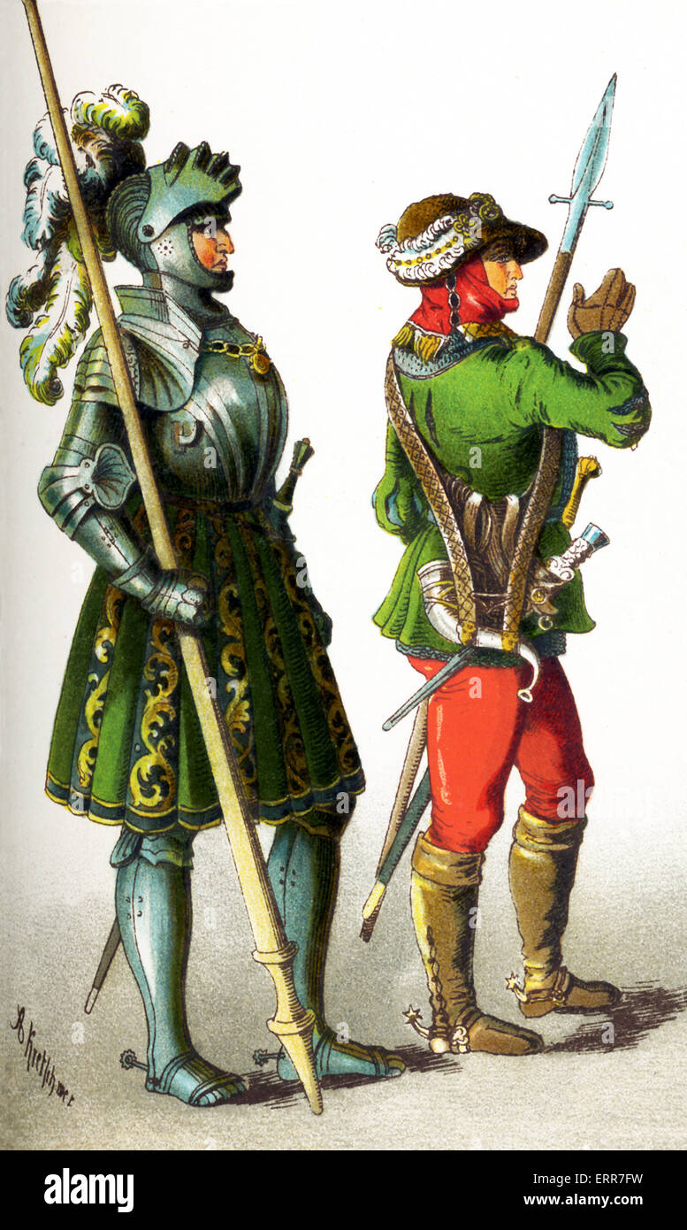 The figures represented here are Germans between 1500 and 1550. They are, from left to right: a knight and a huntsman.This - Stock Image