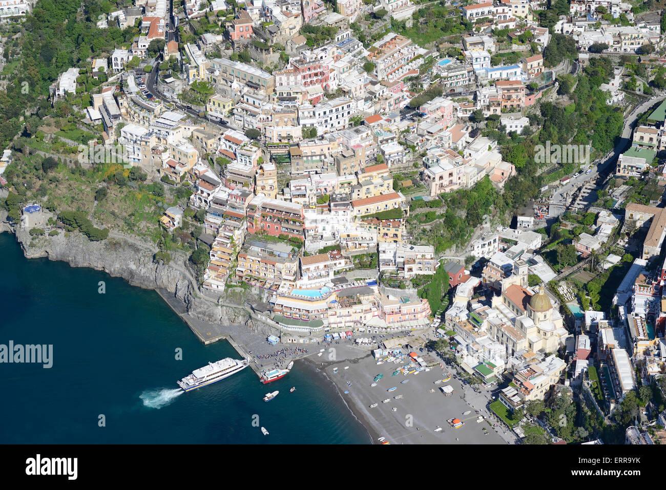 SEASIDE RESORT OF POSITANO (aerial view). Amalfi Coast, Campania, Italy. - Stock Image