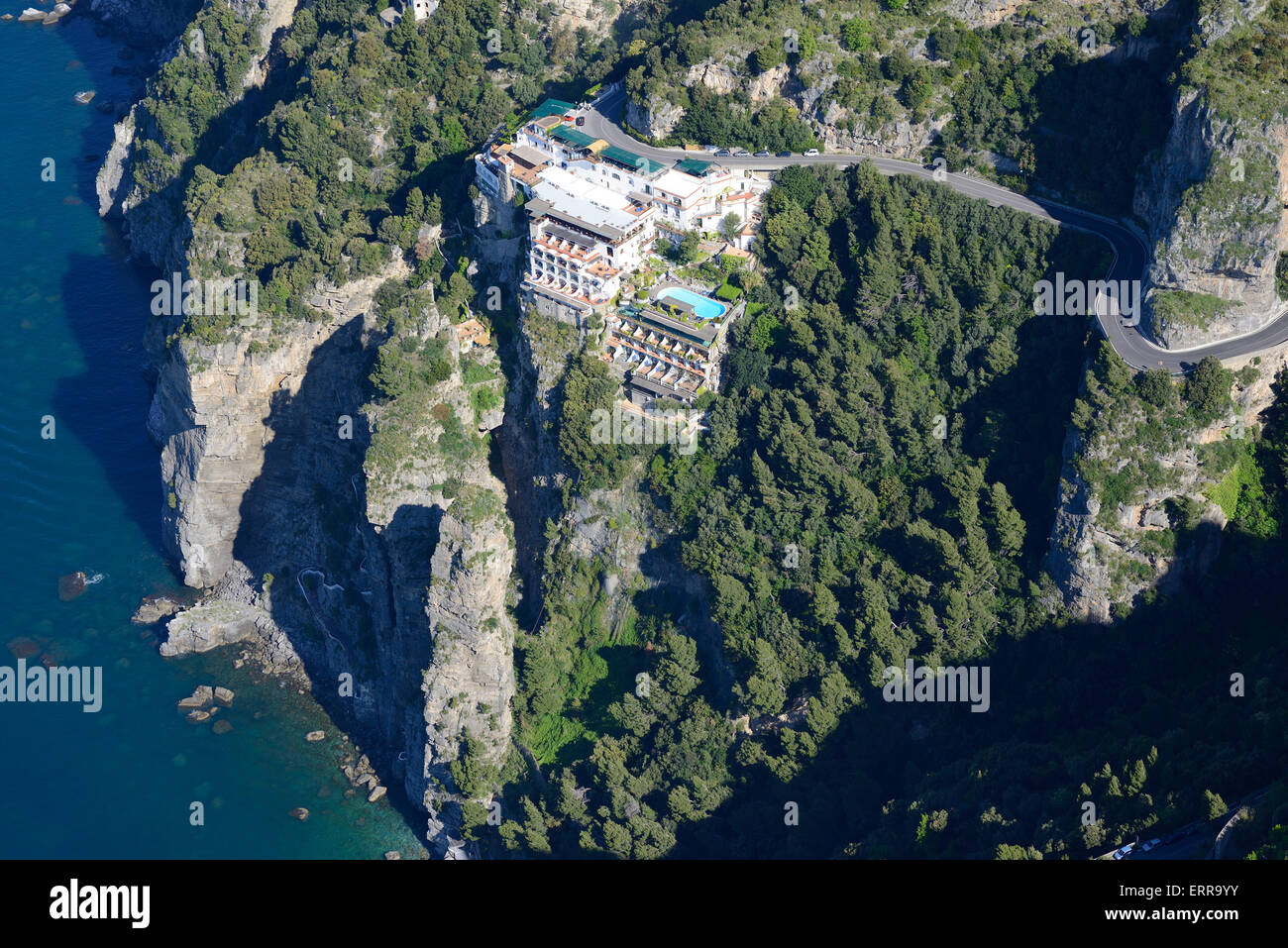 LUXURY HOTEL PERCHED HIGH ON A CLIFF (aerial view). Grand Hotel Tritone in Praiano on the Amalfi Coast. Campania, - Stock Image